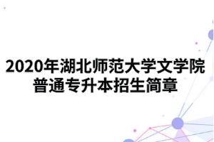 2020年湖北师范大学文学院普通专升本招生简章