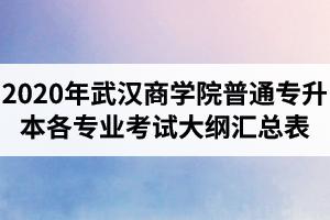 2020年武汉商学院普通专升本各专业考试大纲汇总表