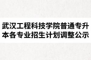 2020年武汉工程科技学院普通专升本各专业招生计划调整公示