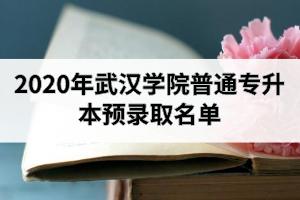2020年武汉学院普通专升本预录取名单