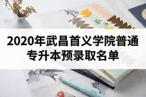 2020年武昌首义学院普通专升本预录取名单