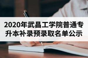 2020年武昌工学院普通专升本补录预录取名单公示