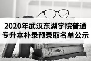 2020年武汉东湖学院普通专升本补录预录取名单公示