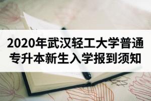 2020年武汉轻工大学普通专升本新生入学报到须知