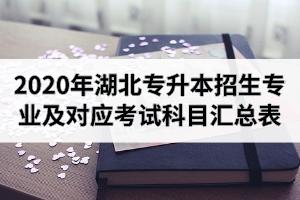 2020年湖北专升本各院校招生专业及对应考试科目汇总表