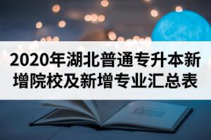 2020年湖北普通专升本新增院校及新增专业汇总表