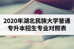 2020年湖北民族大学普通专升本招生专业对照表