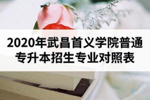 2020年武昌首义学院普通专升本招生专业对照表
