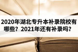 2020年湖北专升本补录院校有哪些?2021年专升本还会有补录政策吗?