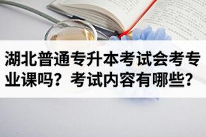 湖北省普通专升本考试会考专业课吗?考试内容有哪些?