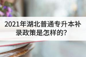2021年湖北普通专升本补录政策是怎样的?
