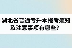 湖北省普通专升本报考须知及注意事项有哪些?